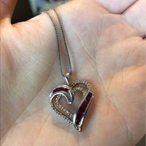 Kay Jewelers Ruby and Diamonds Heart Necklace